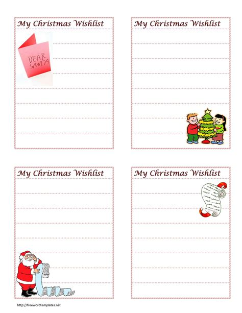 christmas wish list template free microsoft word templates