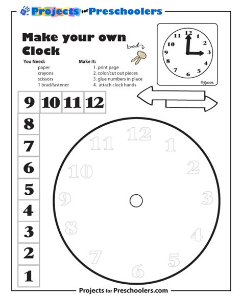 make your own clock template kindergarten clock template check out more free coloring