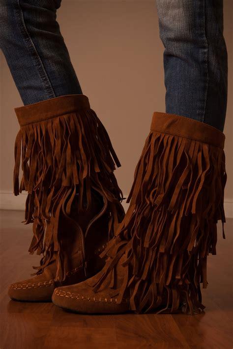 fringe boot sandals fringe moccasin boots affordable boutique boots trendy