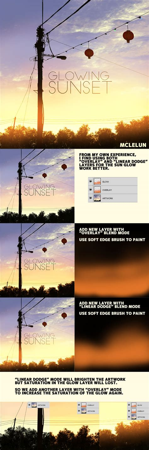 tutorial photoshop sunset glowing sunset tutorial