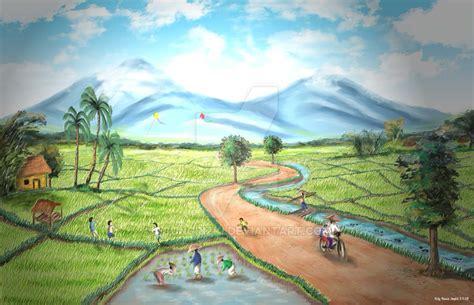 wallpaper pemandangan alam ukuran besar gambar lukisan alam pegunungan koleksi gambar hd