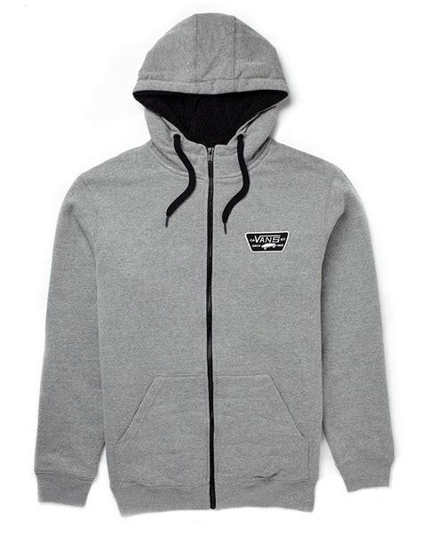 Hoodie Zipper Vans Grey vans nieto hoodie in gray for lyst