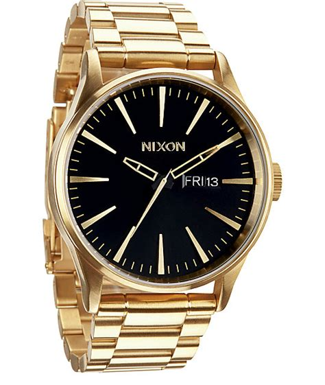 nixon sentry ss gold black analog