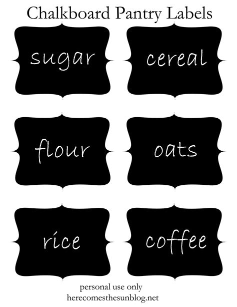 Kitchen Canister Labels by Chalkboard Pantry Labels Free Printable Here Comes The Sun