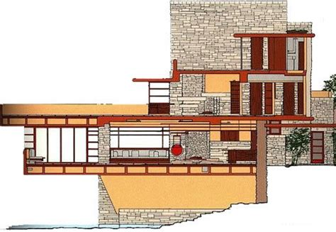 falling water floor plans east elevation frank lloyd wright fallingwater