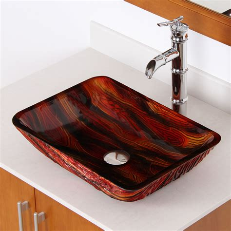 The Sink by Elite 1419 Lava Rectangle Tempered Glass Bathroom Vessel