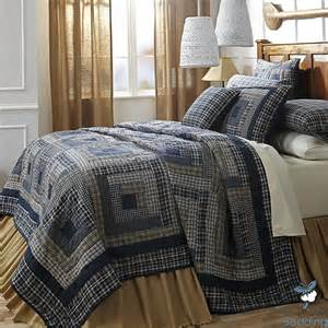 Country Bedspreads Navy Blue Plaid Lodge Log Cabin Country Home Cotton Quilt