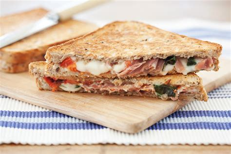 Toast Sandwich Mozzarella Prosciutto And Basil Toasted Sandwich