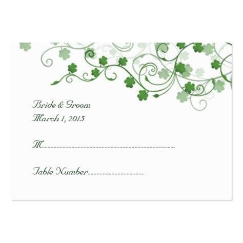 Wedding Place Cards Template clover wedding place card large business cards pack of 100 zazzle