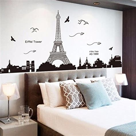 eiffel tower living room decor wall26 removable wall sticker wall mural clear and green grass out of the open window