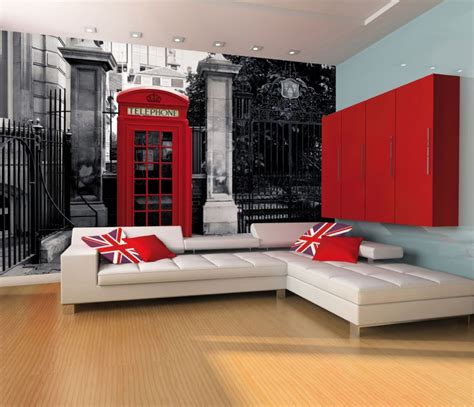 london themed bathroom decor giant wallpaper wall mural london telephone box vintage british theme design