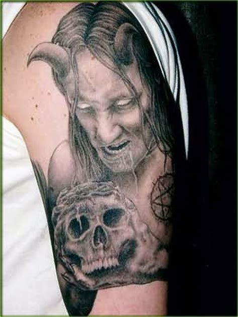 Evil Skull Tattoo On Left Half Sleeve Evil Skull Tattoos