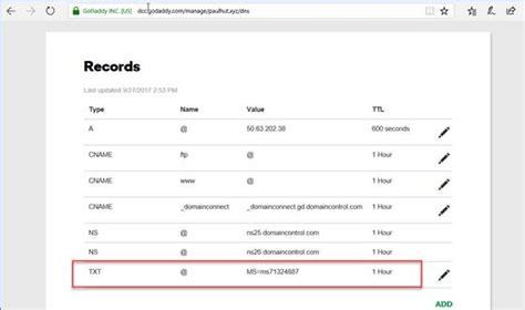 create  ms  txt record  microsoft dns