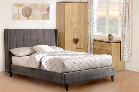 amelia dark grey fabric double bed ft