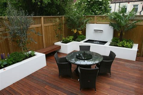 small backyard landscape decking design london elegant walled outdoor entertaining