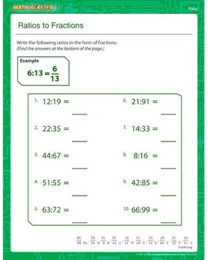 ratios to fractions free ratio worksheet online math