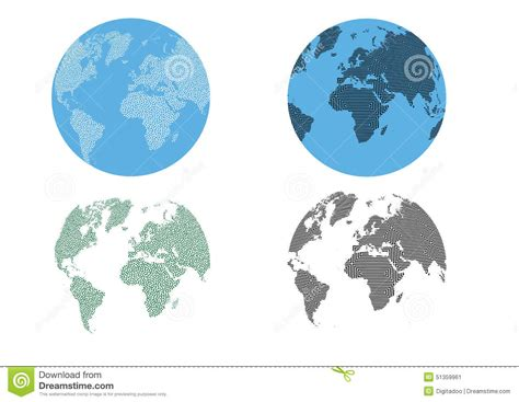 dot pattern globe world continents map dots style illustration cartoon