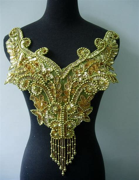gold applique bd15 fringed sequin bead applique gold floral bodicetutu