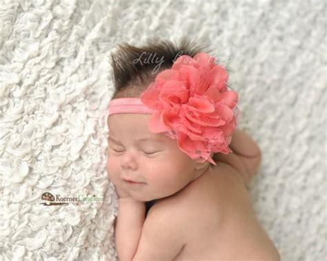 baby headband newborn headband coral lace flower headband preemie newborn infant toddler