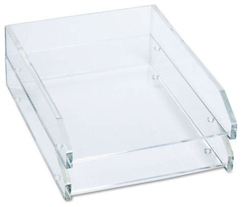 Single Letter Tray Acrylic Clear Contemporary Desk Clear Desk Accessories