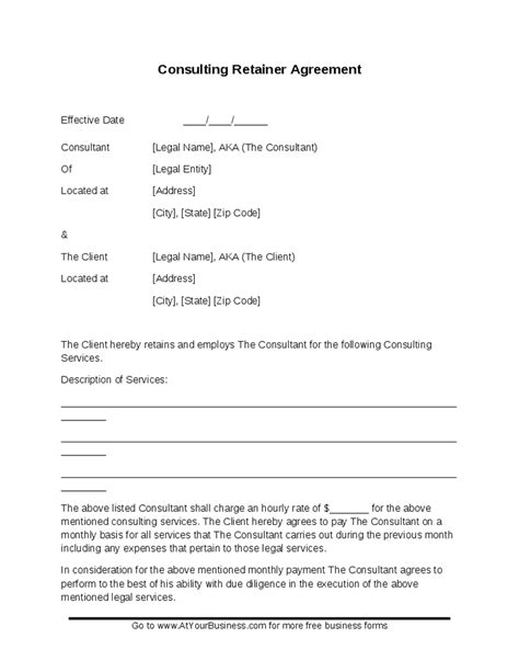 retainer fee agreement template sle consulting retainer agreement template hashdoc