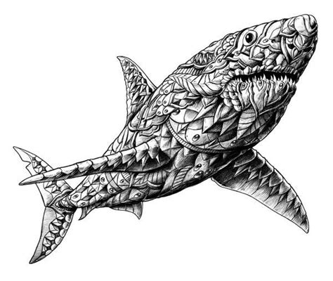 shark mandala coloring pages shark bioworkz adult colouring under the sea fish