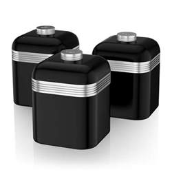 swan set of 3 tea coffee sugar black canisters jar kitchen storage containers ebay
