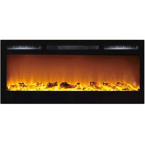 36 inch logs recessed wall mounted electric fireplace