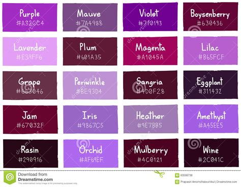 purple l shade purple tone color shade background with code and name
