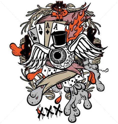 gambler tattoo designs stock vector design tattoos book 65