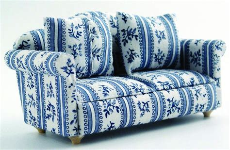 Blue Patterned Sofa by 12th Scale Blue Patterned Sofa Available From Hobbies