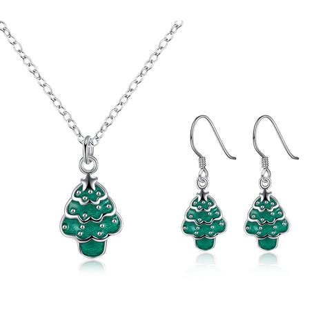 kids green jewelry set christmas gifts womens silver
