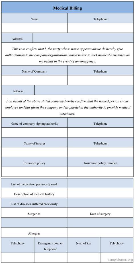 medical billing form templates free printable