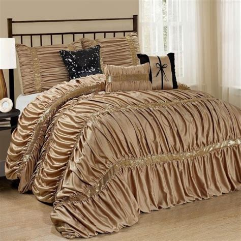 black and gold comforter sets queen new queen cal king bed solid gold black sequin striped 7pc