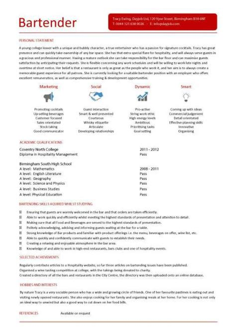 Curriculum Vitae Sle For Bartender Student Entry Level Bartender Resume Template