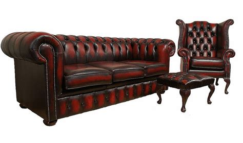 oxblood chesterfield sofa chesterfield leather oxblood sofa 3 wing footstool