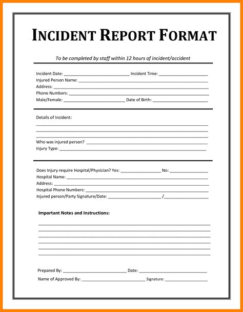 6 accident report form templates daily log sheet