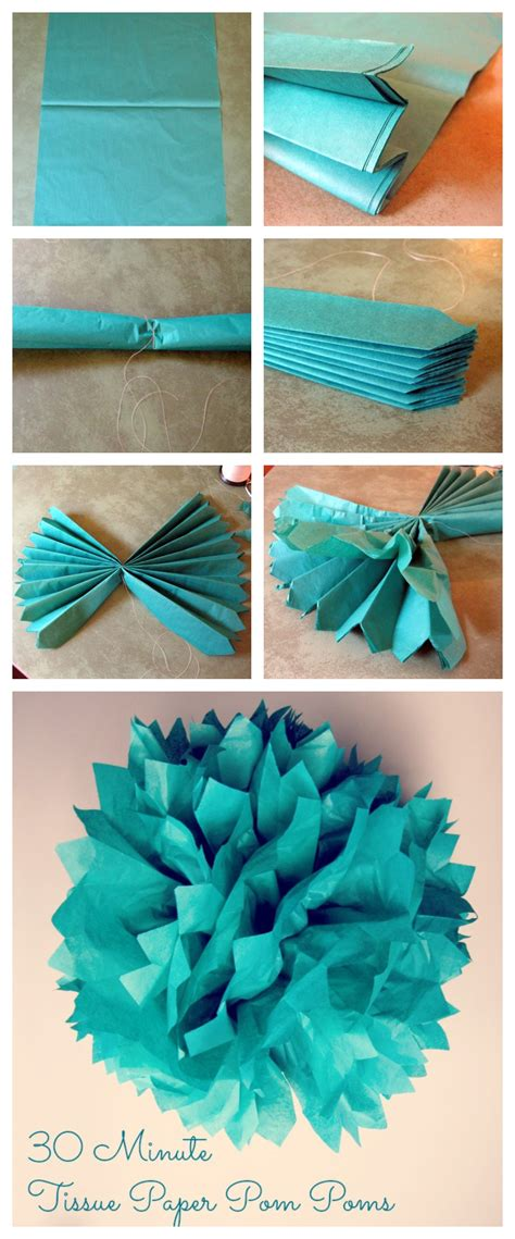 How To Make Pom Poms Out Of Tissue Paper - 30 minute tissue paper pom pom tutorial weddings