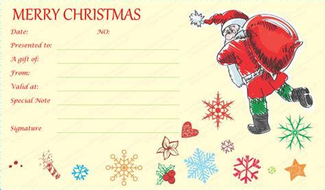 santa gift certificate template santa with gift bag gift certificate template