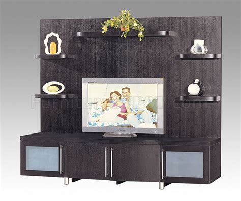 Wenge Finish Contemporary Tv Stand With Cabinets And Shelves Wenge Living Room Furniture