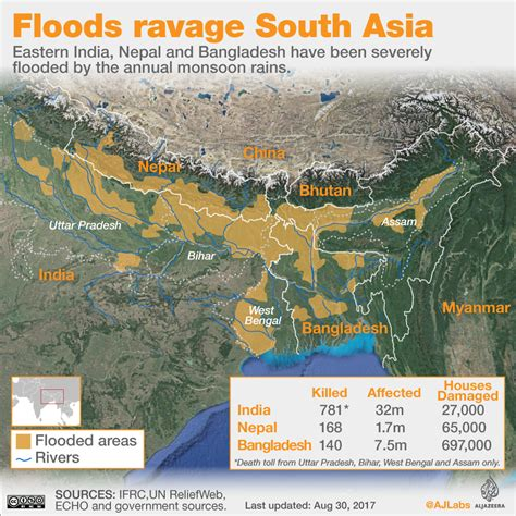 india bangladesh south asia floods affected areas and impacted