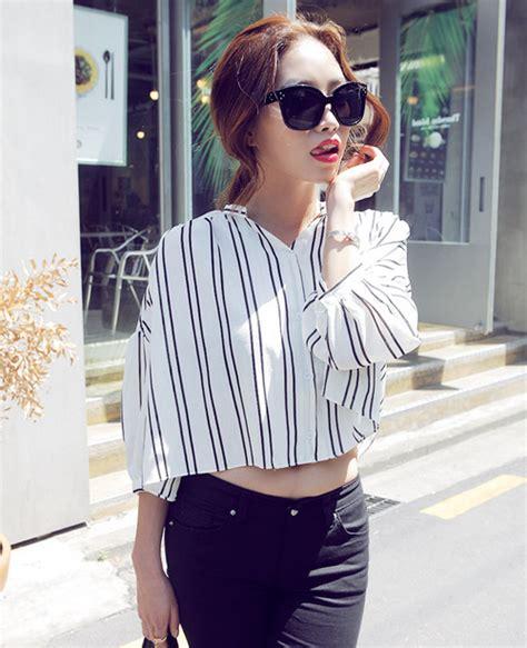 Stripe Twist Crop Baju Rajut Korea stylenanda chic stripe crop t shirt kstylick korean fashion k pop styles