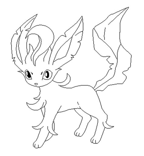 pokemon coloring pages of leafeon leafeon lineart by poke lines on deviantart