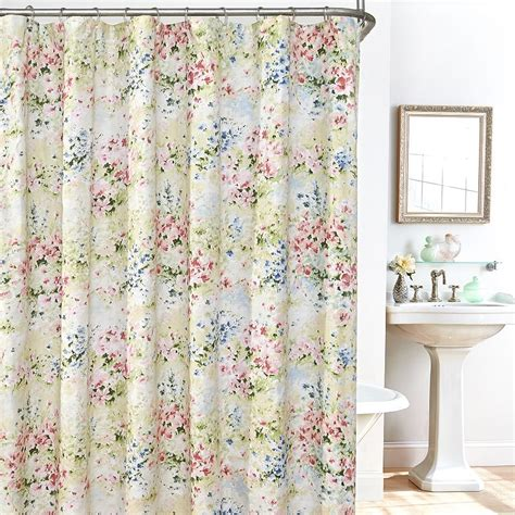 flowered shower curtains buy giverny floral plisse fabric shower curtain liner and