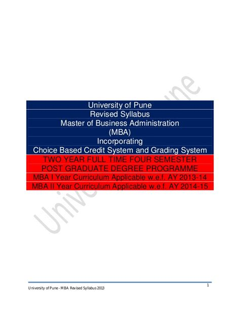 Business Information Systems Syllabus Mba by Mba Syllabus 2013 Cbcgs Pattern