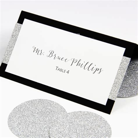lci paper place card template make your own layered wedding place cards with glitter paper