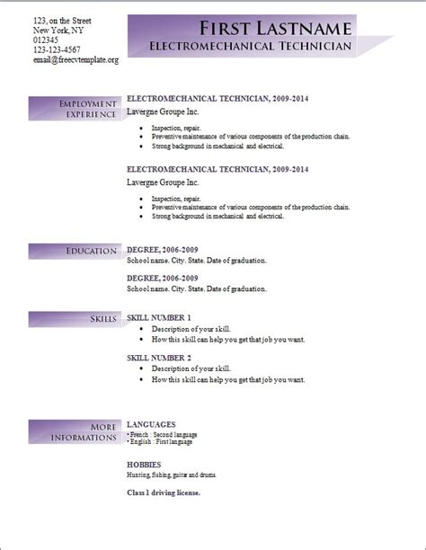Free Resume Templates For Microsoft Word by Free Cv Templates 191 To 197 Free Cv Template Dot Org