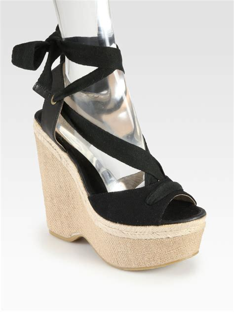 joie tie up canvas espadrille wedges in black lyst
