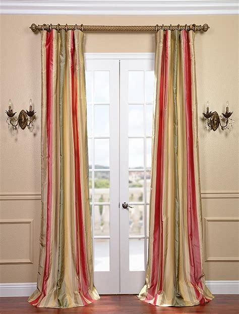 Red Green Gold Striped Silk Curtains Kitchen Pinterest