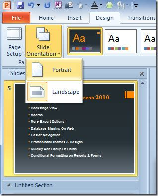 layout powerpoint portrait change orientation of powerpoint 2010 presentation slides